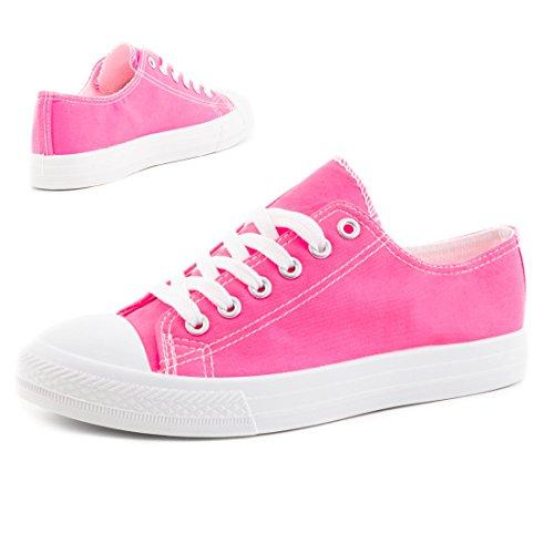 Trendige Unisex Damen Kinder Herren Schnür Sneaker Low Top Schuhe Canvas Textil Pink/Weiß
