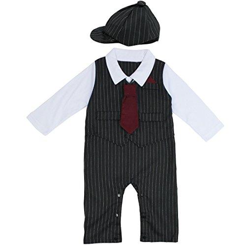 YiZYiF Baby Strampler Smoking für Jungen Kleinkind Kleidung Set Overall Bodysuit + Krawatte mit Hut Gentleman Anzug in Größe 74 80 86 92 Schwarz 3-6 Monate (Anzug Schwarz Gestreifter)