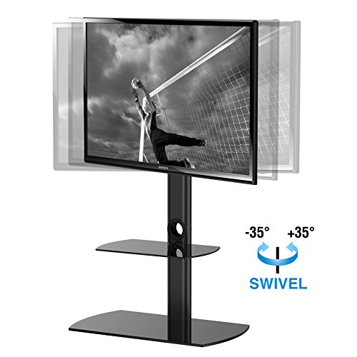 FITUEYES Universal Floor Cantilever Glass TV Stand Shelf with Swivel Bracket for 32 to 50 inch LCD LED TV,Black TT206501GB