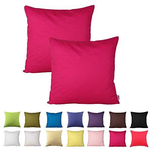 Queenie-2PCS Farbe Baumwolle dekorative Kissenbezug Kissenbezug für Sofa Überwurf Kissen Fall erhältlich in 14Farben & 5Größen, Baumwolle, hot pink, 20 x 20 inch (50 x 50 cm) (Dekorative Kissen Pink Hot)