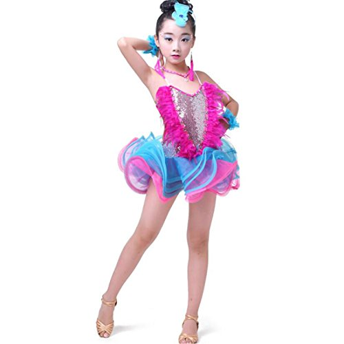 dancewear kostüm Kinder Moderne Latin Pailletten Ballroom Party Tanzen Kleid Kind Tanzen tutu kleid (Modern Jazz Kostüme)