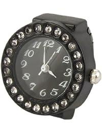 SODIAL(R) Reloj Anillo Banda Elastica Negra Caja de Diamantes para Mujeres