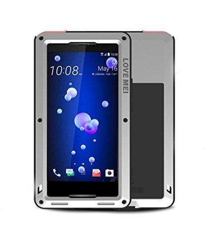 HTC U11 Hülle Case, Eastcoo wasserdicht stoßfest Alloy Aluminum Metal Bumper Gorilla Glass Soft silikon Military Schwer Metall Militär starkes stoßfestes hartes Hülle Tasche cover für HTC U11 (silver) Htc Case