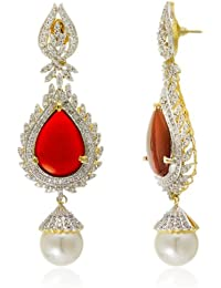 Parshva Leafy Shape 7.3' Long Dangling EarRing With Pearl Drop For Women