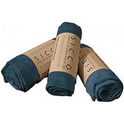 Wirth SICCO Set Wellness 1x Handtuch 60 x 90 cm / 2x Duschtuch 70 x 130 cm Mikrofaser, Set, Handtuch Microfaser, blau