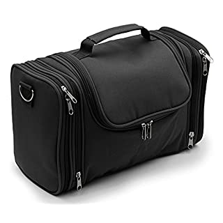 IGNPION Large Wash Bag Hanging Toiletry Bag Make Up Bag for Business Travel and Home Storage (Black)