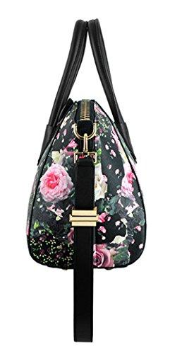 Xinmaoyuan Borse donna Rosa spalla Borse Messenger Donna borsette in cuoio Nero-piccole rose