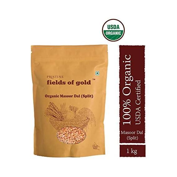 Pristine Organics Fields of Gold Organic Masoor Dal, Split, 1000g (Pack of 2)