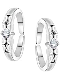 Oviya Rhodium Plated Lovely Solitaire Toe rings with Crystal Stones for girls and women TR2101006RWhi