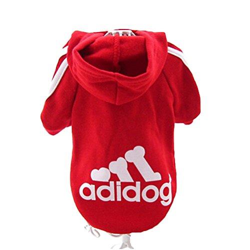 JUYUAN-EU Adidog HundeKleidung Warm Hoodies Mantel Hundejacke Hündchen Pullover T-Shirt Haustier Welpen Mantel Farbe:Rot Grösse:M