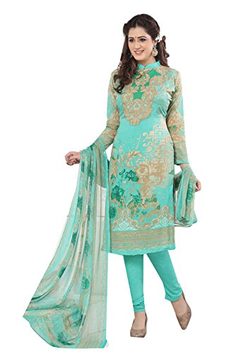 Ishin Women's Synthetic Green Bollywood Printed Unstitched Salwar Suit Dress Material (Anarkali/Patiyala) With Dupatta  available at amazon for Rs.299