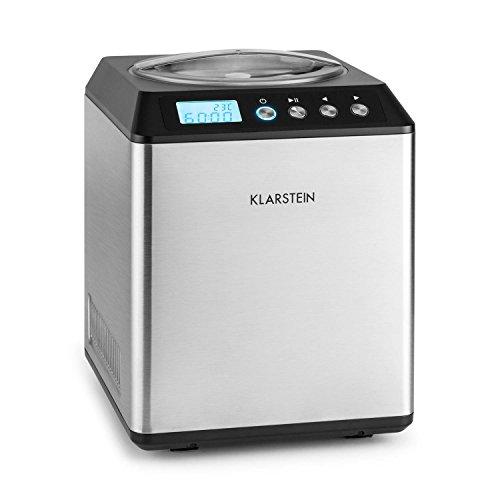 Klarstein Vanilla Sky • Eismaschine • Eismaschine • 180 W • 2 l Kapazität • Kühlfunktion • Vorbereitung: 30-40 min • LED-Anzeige • Edelstahl • Silber