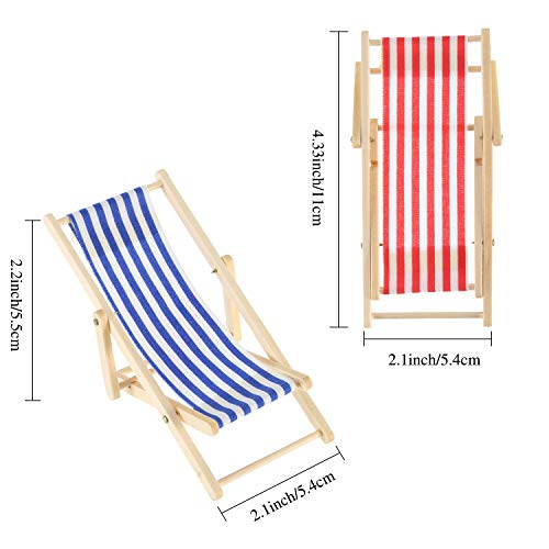 4 Pieces 1:12 Foldable Wooden Beach Chair Miniature Furniture Chaise Longue Deck Chair Mini Furniture Accessories in Red, Blue, Yellow, Green Stripe for Craft Decor Birthday Gifts Wedding Favor