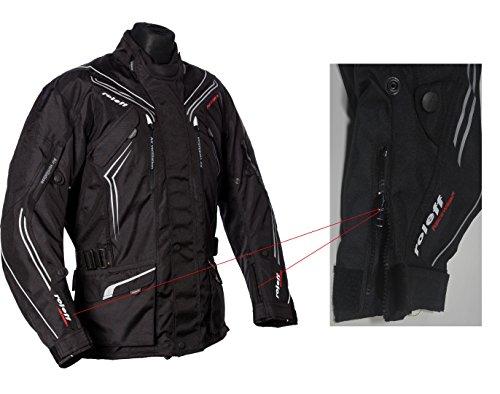 Schwarze Motorradjacke mit Protektoren, Belüftungssystem, Klimamembrane und herausnehmbarem Thermofutter - 7
