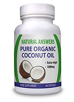 Pure Organic Coconut Oil 1000mg (2 month Supply) by Natural Answers by Natural Answers
