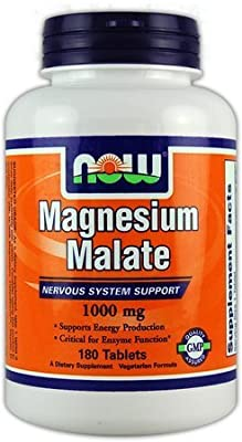 Now Foods Magnesium Malate, 1000mg - 180 tablets Nervous System Support from Now Foods