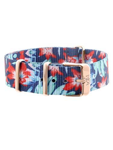 laVIIDA Uhrband LB-SIB1704R Ersatzband Uhrband Stoff 18 mm Blau-Rot-Blüten-Rosé