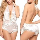 ADOME Damen Satin Negligee V-Ausschnitt Nachtwäsche Rückenfrei Schlafanzüge Neckholder Pyjama Sexy Kurze Wäsche Set Shorty Jumpsuit