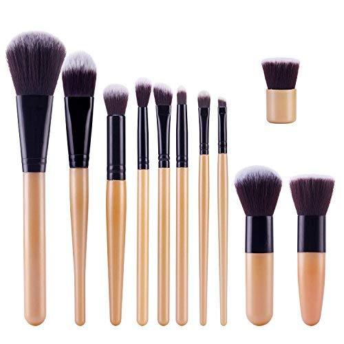 TOPBeauty Kit de Pinceau maquillage Professionnel 11 PCS Ombre a Paupiere Dore Blush Fondation Pinceau Poudre Fond de teint Anti-cerne Kit Pinceaux Gold Sliver