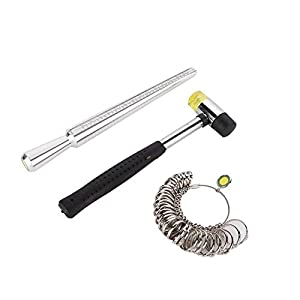 Hongkong-Größe Ring Dorn Stick Finger Messgerät Sizer Hammer Schmuck Messwerkzeug(Silber-)