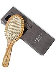 Brosse à cheveux en bois – Brosse à cheveux en massante antistatique de luxe en bois avec picots en bois présentée dans un superbe coffret cadeau - Samson Groomer par Luxelu