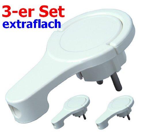 Kopp 1720.0203.7 (4008224588812) Lot de 3fiches électriques coudées ultra plates Blanc