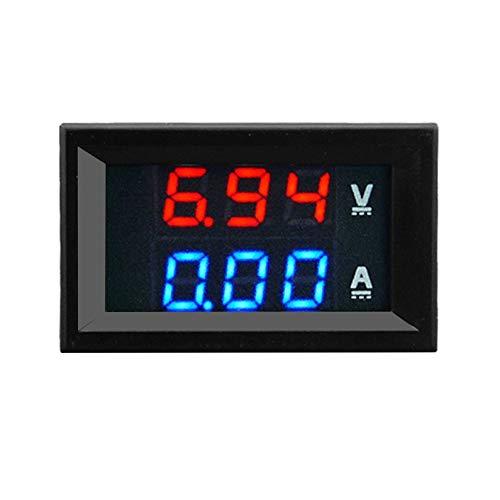 Yukiko 100V 10A DC Digital Voltmeter Ammeter Blue + Red LED Amp Volt Meter Gauge 10 Gauge Amp