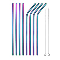 8 Pcs Reusable Metal Drinking Straw Stainless Steel Sturdy Bent Straight Drinks Straws With Cleaner Brush Party Bar Accessory