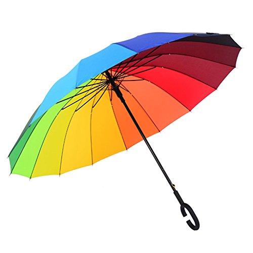 Reversion Regenschirm,Edith qi Double Layers Winddicht Reverse Folding Golfschirm,C Griff für freie Hände,Auto Inside-Out Falten,Ideal für Reisen und Auto,Multicolor (Double-layer-regenbogen)