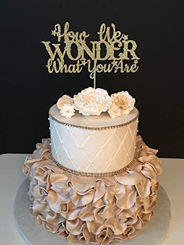 How We Wonder What You Are Baby Sprinkle Baby Shower Geschlecht Enthüllt Jede Farbe Moderne Hochzeit Kuchen Topper Braut und Bräutigam Geschenk für Hochzeitsdekorationen Brautpartys