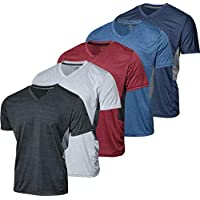 5 Pack:Men's Athletic V Neck T-Shirt Quick Dry Fit Dri-Fit Short Sleeve Active Wear Training Exercise Fitness Workout Tee Fitness Gym Workout Clothing Undershirt Sports Wicking Top-Set 5,L