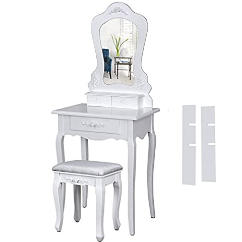 Songmics Wall-fixed Large Dressing Table set 60 x 40 cm (L x W) pretty rose motif in baroque style with mirror and stool, 3 drawers incl. 2 Dividers RDT60W