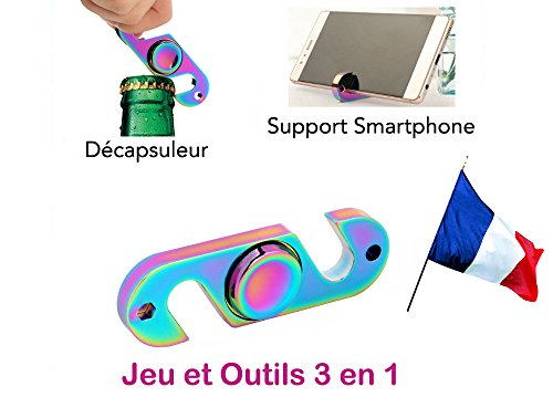 France en Stock Hand Spinner métal 3 en 1 (Jeu + décapsuleur + Support Smartphone) / Rainbow