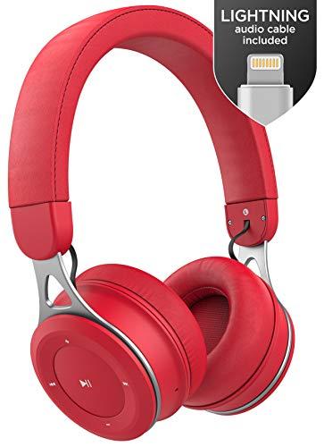 Auriculares Thore Bluetooth para iPhone con Cable Lightning - Auriculares Inalámbricos Ajustables Livianos en el Oído (Certificado MFI) para iPhone X de Apple, XR, XS MAX (Rojo C150)