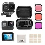 Deyard Kit d'accessoires pour GoPro Hero 8 Black avec Coque Antichoc et boîtier étanche + Film de Protection d'écran en Verre trempé + Coque en Silicone + kit Anti-buée