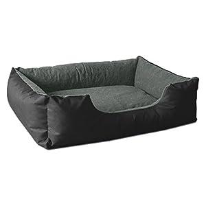 BedDog Hundebett LUPI, Hundesofa aus Cordura, Microfaser-Velours, waschbares Hundebett mit Rand, Hundekissen Vier-eckig, für drinnen, draußen, L, The-Rock, schwarz-grau