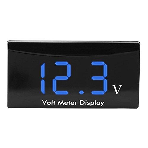 Akozon LED Digital Voltmeter 12 V Auto Motorrad Digital Wasserdicht Stoßfest LED Anzeige Voltmeter Spannung Volt Manometer Panel Meter(Korb Wort)