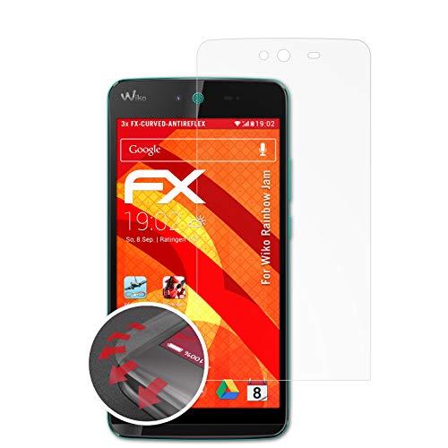 atFolix Schutzfolie passend für Wiko Rainbow Jam Folie, entspiegelnde & Flexible FX Bildschirmschutzfolie (3X)