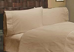 Fadenzahl 500, 8-Komplettes Bettwäsche-SET -- Beige Stripe Euro Doppel IKEA 100% Ägyptische Baumwolle, Extra tiefes Fach (26 33,8 cm)-KOSTENLOSER VERSAND