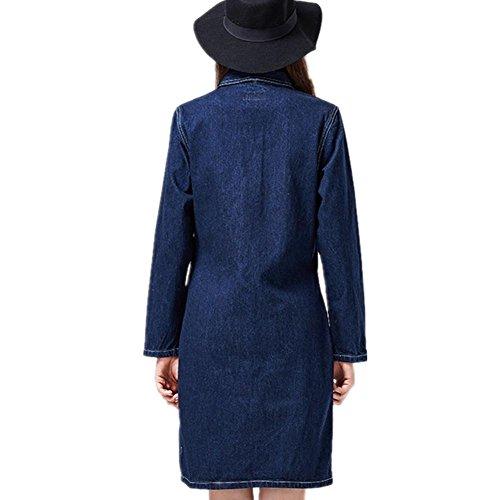 SHISHANG Veste Cowboy Femme Veste à manches longues Dames Long Cube Veste Inélástica Short Spring Retro Bleu foncé Deep Blue