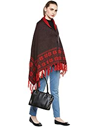 CAYMAN Grey & Red Patterned Reversible Acrylic Wool Poncho Sweater