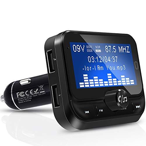 Fm Transmitter Auto Bluetooth, Bluetooth FM Transmitter 1,8 Zoll Bildschirm Car MP3 Player, 3.5mm AUX und Micro SDHC-Karten-Slot Adapter für iPhone Android -