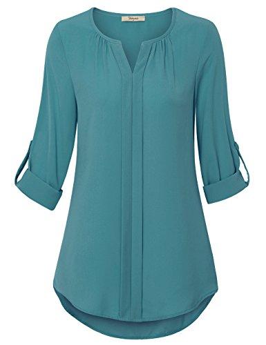 Elegante Oberteile Damen,Bebonnie Klassische Crew Neck Grundlegende Hemden Durchgefärbt Langarm Schmeichelhaft Blusen Dunkel-Türkis,XXL (Tunika-anzug)