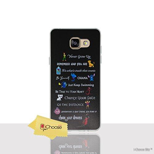 Disney Citation Étui/Coque de Téléphone pour Samsung Galaxy A3 2016 / Silicone Doux Gel/TPU / iCHOOSE / Lignes de Film