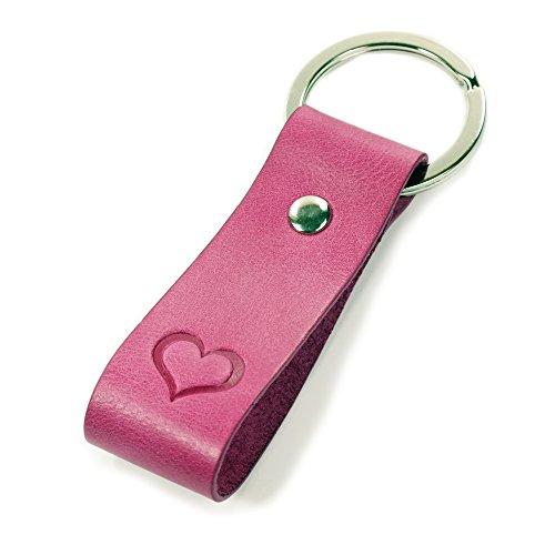 Luminick Schlüsselanhänger Gravur Herz pink - weiches Leder - edle Geschenkbox