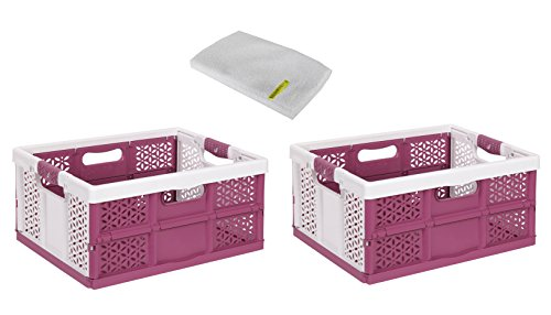 2 x professionnel pliante avec softgriffen Blanc/Berry 32 L jusqu'à 40 kg Boîte pliable boîte Caisse de transport Panier à provisions Boîte