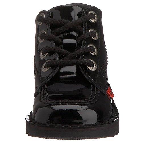 Kickers - bottines hautes Kick en cuir vernis enfants Noir