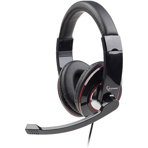Gembird MHS-U-001 - Auriculares de diadema cerrados (USB, con micrófono), negro