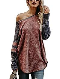 YOINS Schulterfrei Damen Sexy Langarmshirt Pulli Herbst Pullover Off  Shoulder Tops Sweatshirt mit Streifen Jumper Bluse 37f2ca2575
