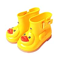 Euaoqi Cartoon Cute Duck Rain Boots for Kids, Infant Baby Cartoon Duck Rubber Rain Shoes Children Waterproof Warm Boots
